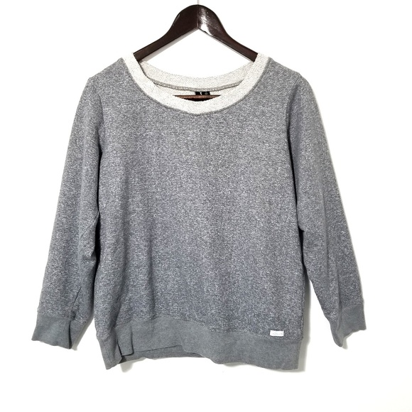 Kensie Crewneck Sweatshirt Gray & White Sz Medium